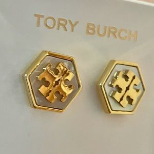 Tory Burch mother of pearl hexagon earrings